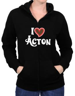 I Love Acton Zip Hoodie - Womens