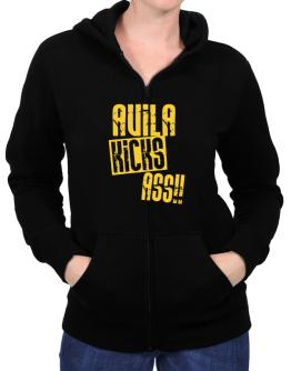 Avila Kicks Ass!! Zip Hoodie - Womens