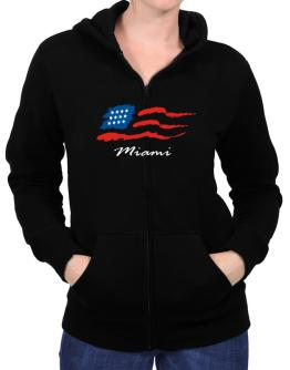 Miami - Us Flag Zip Hoodie - Womens