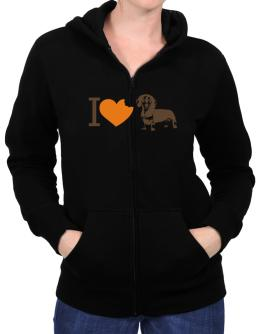 I love Dachshunds Zip Hoodie - Womens