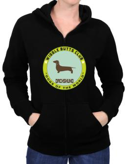 Dachshund - Wiggle Butts Club Zip Hoodie - Womens