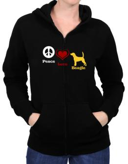 Peace, Love, Beagle Zip Hoodie - Womens