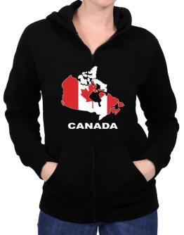 Canada - Country Map Color Zip Hoodie - Womens