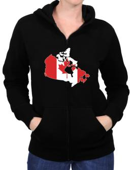 Canada - Country Map Color Simple Zip Hoodie - Womens