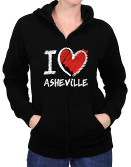 I love Asheville chalk style Zip Hoodie - Womens