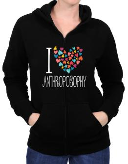 I love Anthroposophy colorful hearts Zip Hoodie - Womens