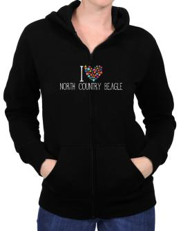 I love North Country Beagle colorful hearts Zip Hoodie - Womens