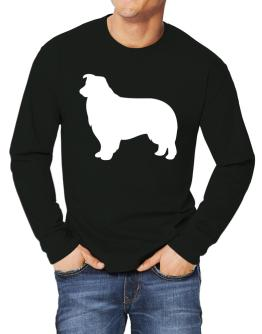 Border Collie Silhouette Embroidery Long-sleeve T-Shirt