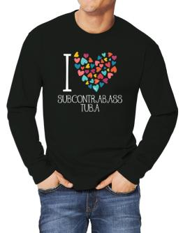 I love Subcontrabass Tuba colorful hearts Long-sleeve T-Shirt