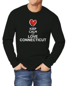Keep calm and love Connecticut chalk style Long-sleeve T-Shirt