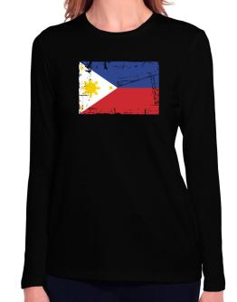 """"""" Philippines - Vintage Flag """" Long Sleeve T-Shirt-Womens"""