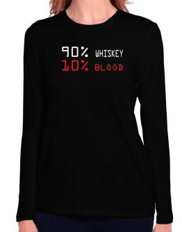 90% Whiskey 10% Blood Long Sleeve T-Shirt-Womens