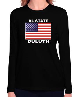 """ Duluth - US Flag "" Long Sleeve T-Shirt-Womens"