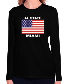 """ Miami - US Flag "" Long Sleeve T-Shirt-Womens"