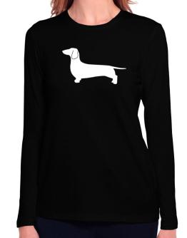 Dachshund Silhouette Embroidery Long Sleeve T-Shirt-Womens