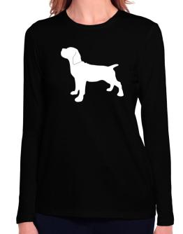 Cane Corso Silhouette Embroidery Long Sleeve T-Shirt-Womens
