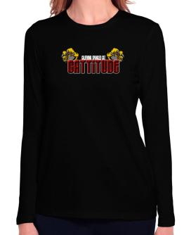 California Spangled Cat Cattitude Long Sleeve T-Shirt-Womens