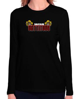 Safari Cattitude Long Sleeve T-Shirt-Womens