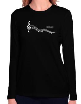 House Music - Notes Long Sleeve T-Shirt-Womens