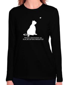 Easily Distracted By Saxophonists Long Sleeve T-Shirt-Womens