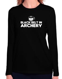 Black Belt In Archery Long Sleeve T-Shirt-Womens