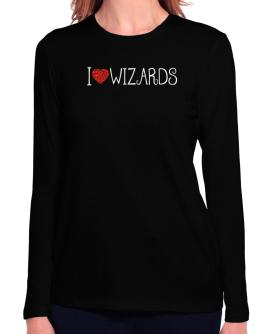 I love Wizards cool style Long Sleeve T-Shirt-Womens