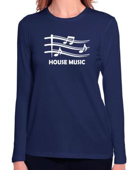 House Music - Musical Notes Long Sleeve T-Shirt-Womens