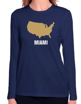 Miami - Usa Map Long Sleeve T-Shirt-Womens