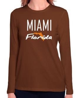 """ Miami - State Map "" Long Sleeve T-Shirt-Womens"