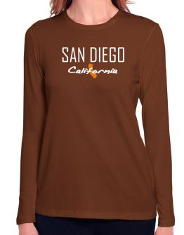 """"""" San Diego - State Map """" Long Sleeve T-Shirt-Womens"""