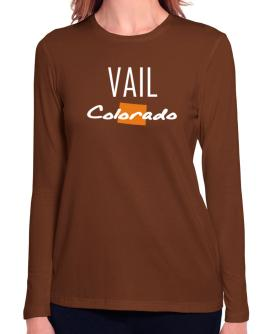 """ Vail - State Map "" Long Sleeve T-Shirt-Womens"