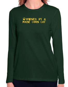 Owned By A Maine Coon Long Sleeve T-Shirt-Womens