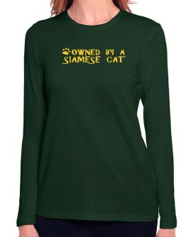 Owned By A Siamese Long Sleeve T-Shirt-Womens