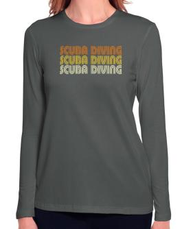 Scuba Diving Retro Color Long Sleeve T-Shirt-Womens