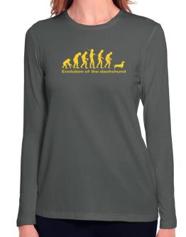 Evolution Of The Dachshund Long Sleeve T-Shirt-Womens