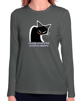 Pussy Whipped By My California Spangled Cat Long Sleeve T-Shirt-Womens