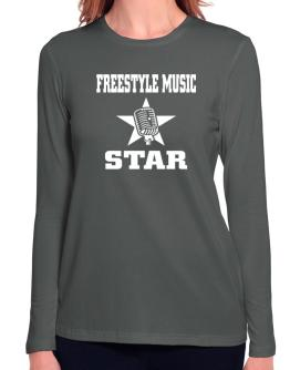 Freestyle Music Star - Microphone Long Sleeve T-Shirt-Womens