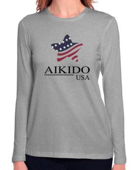 Aikido Usa Star Color - America Long Sleeve T-Shirt-Womens
