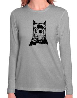Cane Corso Face Special Graphic Long Sleeve T-Shirt-Womens