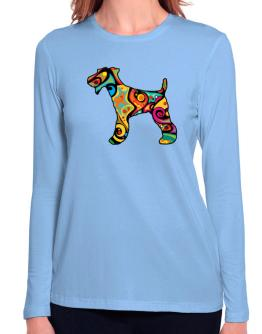 Psychedelic Fox Terrier Long Sleeve T-Shirt-Womens