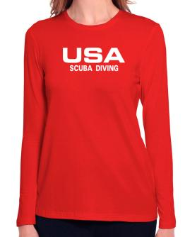 Usa Scuba Diving / Athletic America Long Sleeve T-Shirt-Womens