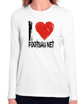 I Love Footbag Net Long Sleeve T-Shirt-Womens