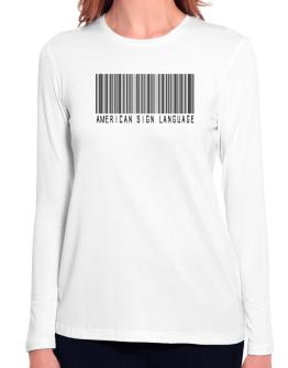 American Sign Language Barcode Long Sleeve T-Shirt-Womens