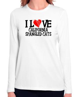 I Love California Spangled Cats - Scratched Heart Long Sleeve T-Shirt-Womens