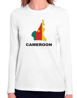 Cameroon - Country Map Color Long Sleeve T-Shirt-Womens