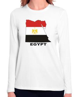 Egypt - Country Map Color Long Sleeve T-Shirt-Womens