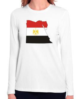 Egypt - Country Map Color Simple Long Sleeve T-Shirt-Womens