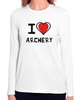 I Love Archery Long Sleeve T-Shirt-Womens
