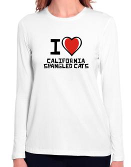 I Love California Spangled Cats Long Sleeve T-Shirt-Womens
