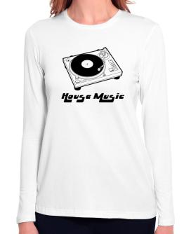Retro House Music - Music Long Sleeve T-Shirt-Womens